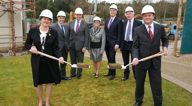 Enterprise, Trade and Investment Minister Arlene Foster has performed the official sod cutting ceremony for the new £10m extension at Galgorm Resort & Spa in Ballymena. The extension will include additional bedrooms and leisure facilities, including a swimming pool and gym. Pictured, left to right, Enterprise Minister, Arlene Foster, Ian Paisley MP, Alastair Hamilton, Chief Executive, Invest NI; Mayor of Ballymena, Cllr Audrey Wales; Des Moore, First Trust Bank; David Hamilton, Martin & Hamilton and Paul Smyth, Galgorm Resort & Spa