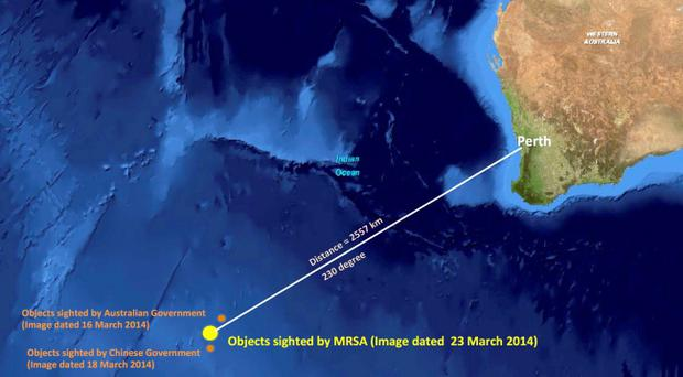 This graphic released by the Malaysian Remote Sensing Agency on Wednesday, March 26, 2014, shows the approximate position of objects seen floating in the southern Indian Ocean
