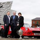 Arlene Foster and Circuit of Ireland entrant Dessie McCartney with event director Bobby Willis