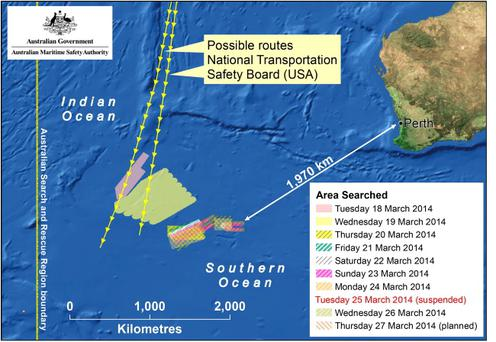 A map of the planned search area for missing Malaysian Airlines Flight MH370 on March 27, 2014. New images overnight have been released by a French satellite which have found 122 objects in the Southern Indian Ocean which may be debris from the missing Malaysian Airlines flight MH370. (Photo by AMSA via Getty Images)