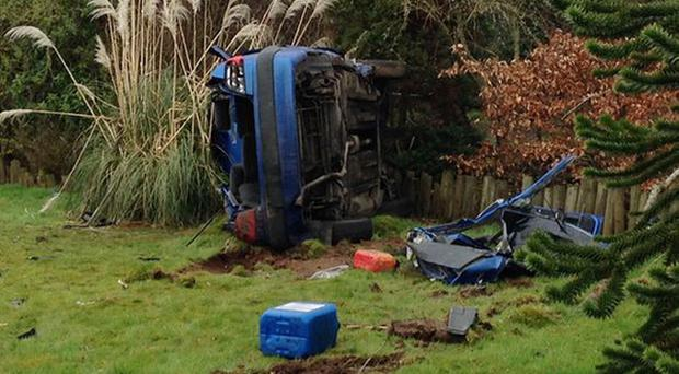 The wreckage at the scene of the fatal accident on the Old Coagh Road, Cookstown