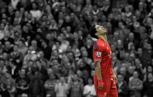 Liverpool's Luis Suarez scored his 29th of the season to break the club record for a Premier League campaign, set by Robbie Fowler in 1995-96