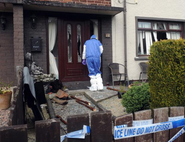 Damage caused to a house on Ferris Avenue in Larne. Pic Colm Lenaghan/Pacemaker