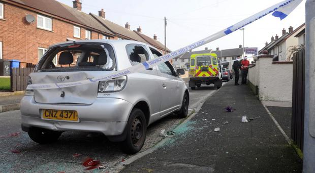 The aftermath of violence in the Ferris Avenue area of Larne. Pic Colm Lenaghan/Pacemaker