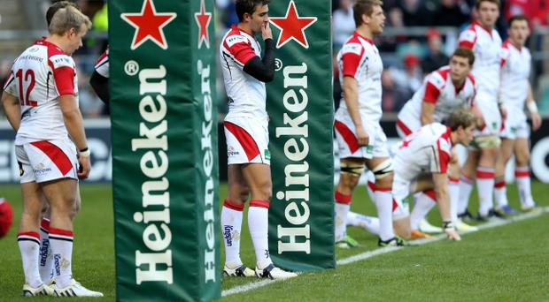 LONDON, ENGLAND - APRIL 06: Dejected Ulster players look on during the Heineken Cup quarter final match between Saracens and Ulster at Twickenham Stadium on April 6, 2013 in London, England. (Photo by Warren Little/Getty Images)