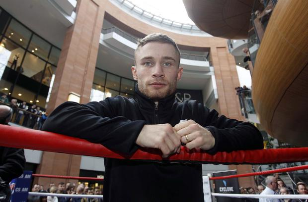 Carl Frampton during his public workout at Victoria Square ahead of his bout with Hugo Cazarez on Friday night at the Odyssey Arena. Photo Aidan O'Reilly/Pacemaker Press