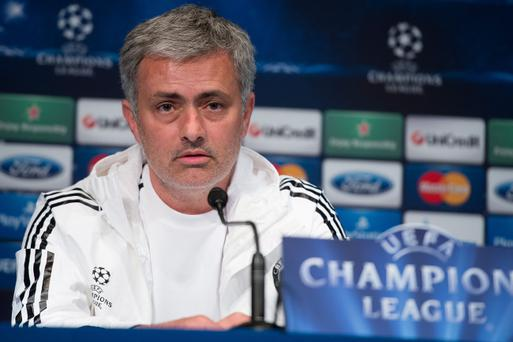 PARIS, FRANCE - APRIL 01: Chelsea's Portuguese manager Jose Mourinho speaks to the media during a press conference on the eve of the UEFA Champions League match between Paris Saint-Germain FC and Chelsea FC at Parc des Princes stadium on April 1, 2014 in Paris, France. (Photo by Dominique Charriau/Getty Images)