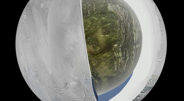 An illustration of the interior of Enceladus based on data from Cassini, which suggests an ice outer shell and a low density, rocky core with a regional water ocean sandwiched in between at high southern latitudes