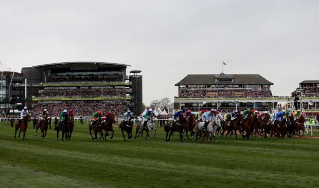 Runners and riders start The Crabbie's Grand National Steeple Chase during Grand National Day of the Crabbie's Grand National 2014 Festival at Aintree Racecourse, Liverpool