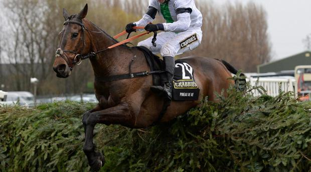 Pineau De Re ridden by Leighton Aspell jump the final fence as they win the Crabbies Grand National during Grand National Day of the Crabbie's Grand National 2014 Festival at Aintree Racecourse, Liverpool