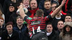 Saracens' Chris Ashton scores a try against Ulster during Saturday's Heineken Cup quarter-final match at Ravenhill