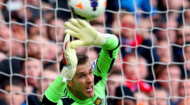 Unlikely scorer: West Ham keeper Adrian netted the decisive penalty
