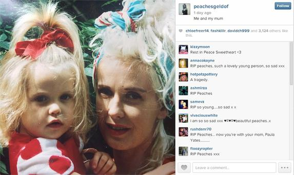 Last picture posted on Peaches Geldof's Instagram and Twitter accounts accompanied by message: 'Me and my mum