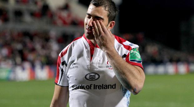 Ulster's Ruan Pienaar is emotional after losing the Heineken Cup quarter-final match to Saracens's at Ravenhill Stadium, Belfast