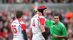 Ulster's Jared Payne is given the red card by referee Jerome Garces. INPHO/Presseye/Darren Kidd