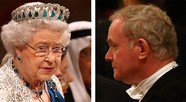 The Queen (left) and Northern Ireland's Deputy First Minister Martin McGuinness during the State visit of the President of Ireland Michael D. Higgins on April 8, 2014 in Windsor, England