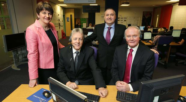 Peter Robinson and Martin McGuinness are pictured with Enterprise Minister Arlene Foster and Senior VP of Concentrix Philip Cassidy. Pic Kelvin Boyes / Press Eye