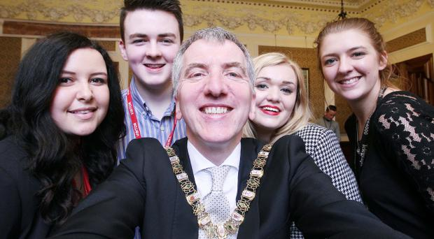 Selfie time: The Belfast Telegraph's young editors meet the Lord Mayor of Belfast Mairtin O Muilleoir. Pic Jonathan Porter/Presseye