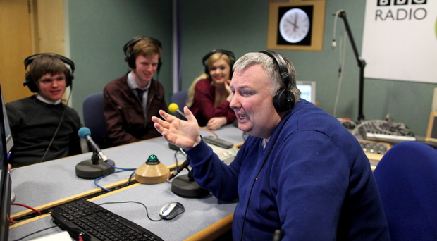 The Belfast Telegraph, young editors, Callum Sweetlove, Christopher Seeley and Rachael Adams pictured on the BBC Radio Show, The Nolan Show with Stephen Nolan yesterday. Pic David Fitzgerald