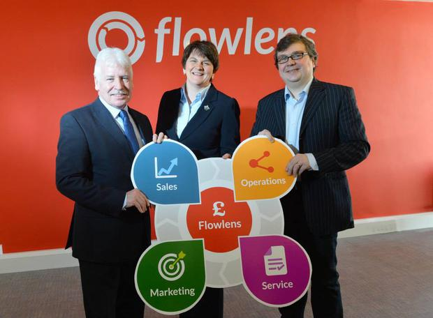 Sammy Douglas, MLA Arlene Foster, MLA and Rich Dale, Flowlens mark the company's rebranding