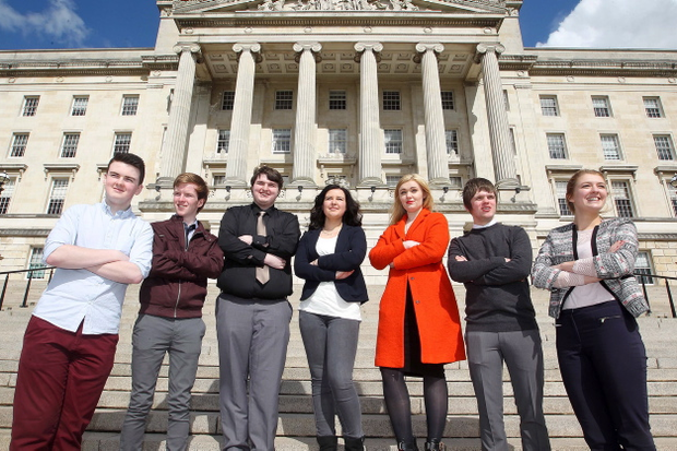 The Belfast Telegraph's Young Editors: Left to right - Michael McGrane (17) from St Patrick's Grammar Armagh, Christopher Seeley (17) from St Patrick's Grammar Armagh, Curtis Hill (17) Belfast Boys Model, Maya McCloskey (16) from Lagan College, Rachael Adamson(17) from Strathearn School, Callum Sweetlove (17) from Belfast Boys Model and Kate Umphray(17) from Strathearn School. Pic Jonathan Porter