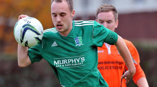 Downpatrick's Terence Bell in action this season against Orangefield OB