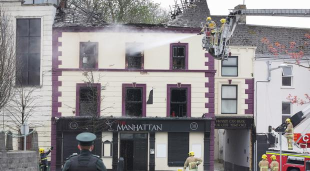 The Manhattan bar in Lurgan was severely damaged during a blaze on Sunday morning. Pic Pacemaker