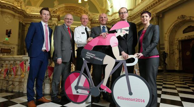 Election posters banned at Giro: Organisers and Minister Danny Kennedy at a briefing in Belfast City Hall