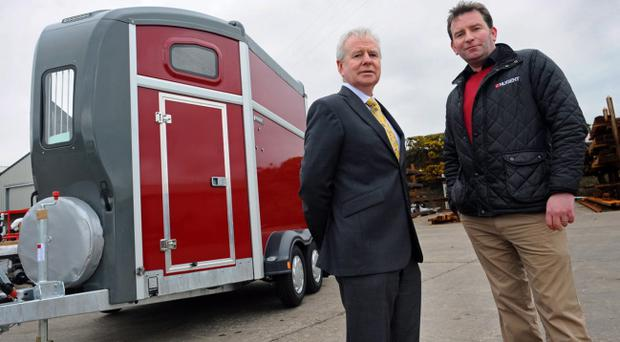 Sean Nugent Engineering Ltd is growing its workforce and export presence across Britain and Europe with support from InvestNI. Pictured are Kevin McCann (left) from Invest NI, and Shane Nugent, Nugent Engineering Ltd