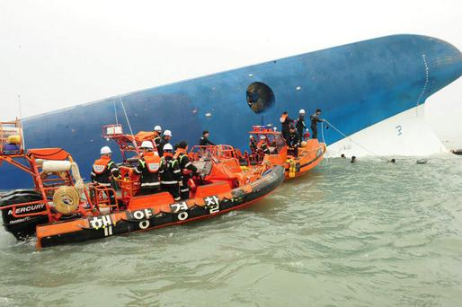 Rescue work by members of the Republic of Korea Coast Guard continues around the site of ferry sinking accident off the coast of Jindo Island on April 16, 2014 in Jindo-gun, South Korea. (Photo by The Republic of Korea Coast Guard via Getty Images)