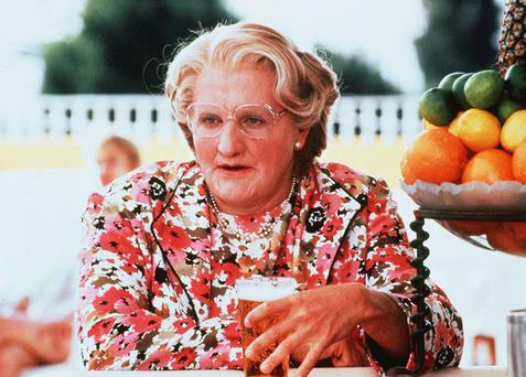 Robin Williams starred in Mrs Doubtfire, playing a soon-to-be-divorced father who cross-dresses as a nanny to spend more time with his children
