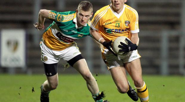 Clubs in Belfast may be struggling financially but St John's forward Brian Neeson is prospering in the Antrim attack