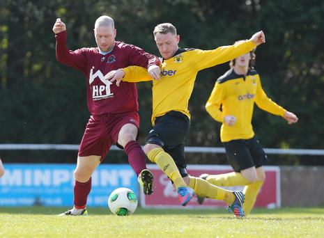 Action from HW Welders v Institute in the Belfast Telegraph Championship One