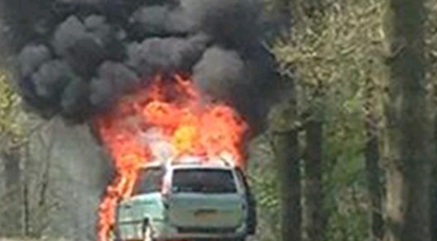 A 4x4-type car engulfed in flames at Longleat Safari Park, as mother Helen Clements has described the