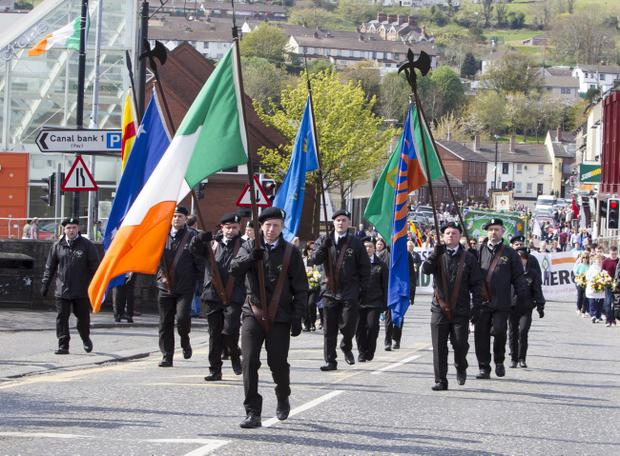 The annual Easter Commemoration Parade took place in Newry city, with about 300 people parading to the republican plot at St Mary's Graveyard. Newraypics
