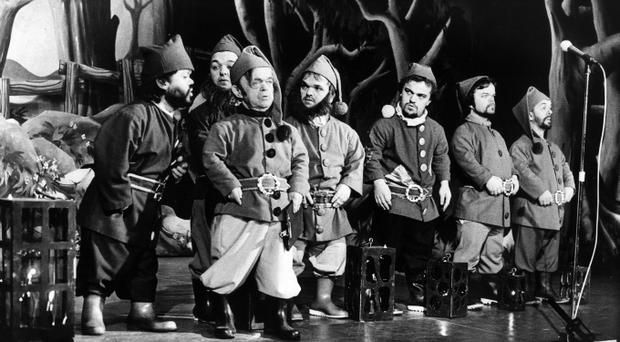 It's off to work we do...the seven dwarfs about to set off for the diamond mines in Snow White at the New Vic. 15/12/1984