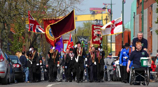 The Annual Easter Apprentice Boys' Parade made its way from Belmont Road where an act of Remembrance took place to Ormeau Embankment. The Parade makes its way up Templemore Avenue.