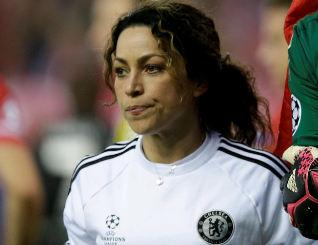 Chelsea physio Eva Carneiro during the Champions League semifinal first leg soccer match between Atletico Madrid and Chelsea at the Vicente Calderon stadium in Madrid, Spain, Tuesday, April 22, 2014. (AP Photo/Paul White)
