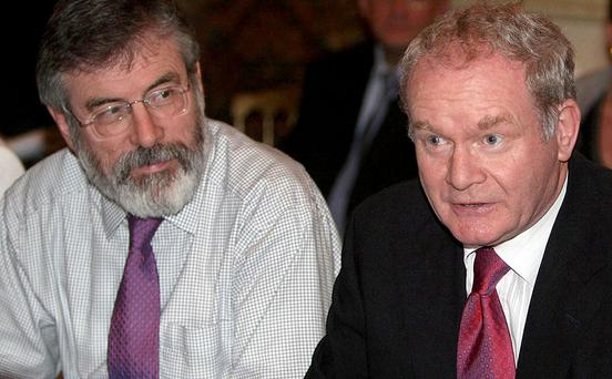 Gerry Adams (left) and Martin McGuinness both deny claims by a former IRA prisoner that they ordered a bombing in 1980