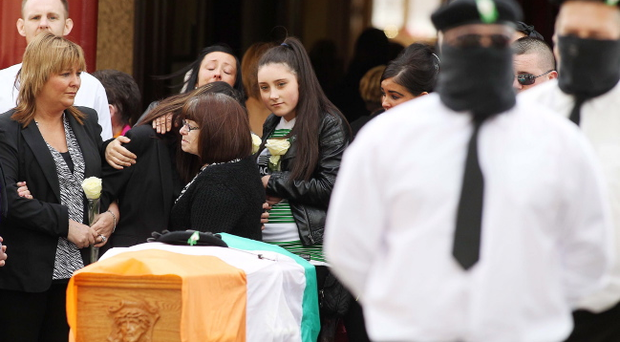The funeral of dissident republican Tommy Crossan after he was murdered in west Belfast last week. Pic Photo-Jonathan Porter/Presseye