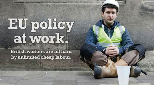 One recent Ukip poster which got tongues wagging - the man featured in 'British builder' ad complaining about migrant workers taking jobs was actually an Irish actor