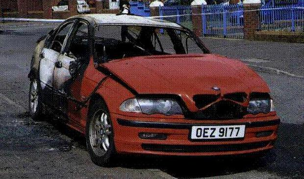 The red BMW used in the shooting of dissident republican Tommy Crossan