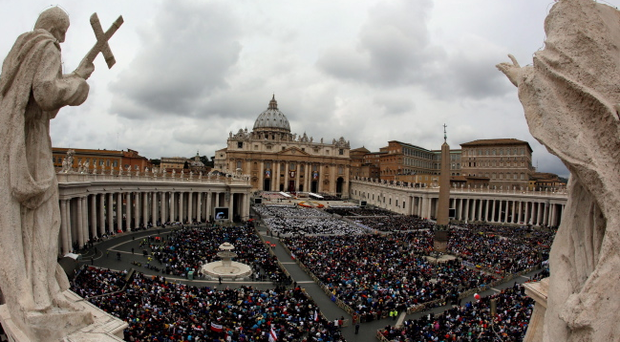 Faithful fill St. Peter's Square at the Vatican, Sunday, April 27, 2014.(AP Photo/Alessandra Tarantino)