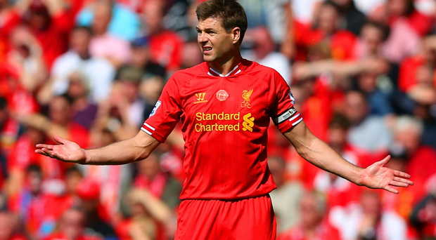 Steven Gerrard of Liverpool looks on during the Barclays Premier League match between Liverpool and Chelsea at Anfield on April 27, 2014 in Liverpool, England. (Photo by Clive Brunskill/Getty Images)