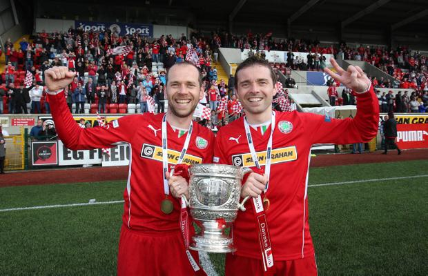 Cliftonville celebrate winning the Danske Bank Premiership