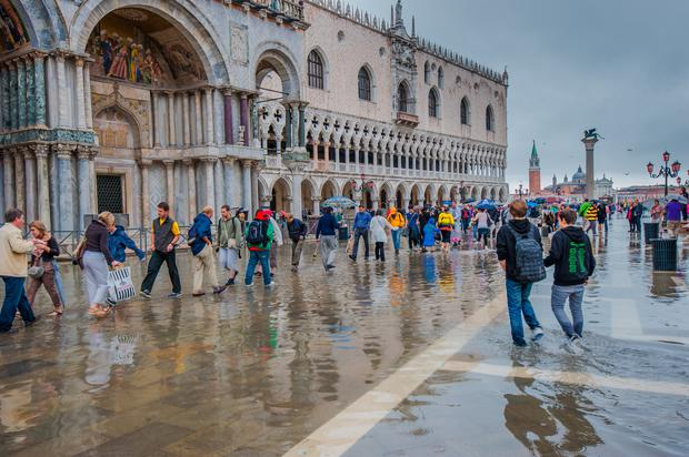 Venice, flooded in November 2013. Human-driven subsidence has stopped but the ground level is still falling thanks to natural factors.