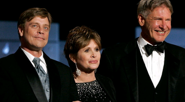 Actors Harrison Ford, Carrie Fisher and Mark Hamill have been included in the cast for 'Star Wars: Episode VII', which has been announced today. (Photo by Vince Bucci/Getty Images)