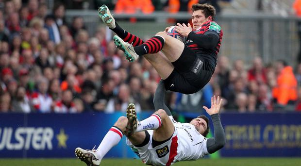 Jared Payne was red-carded and banned after this tackle on Alex Goode against Saracens