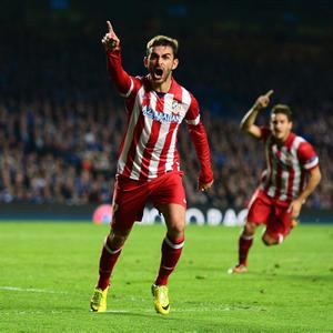 LONDON, ENGLAND - APRIL 30: Adrian Lopez of Club Atletico de Madrid celebrates scoring his goal during the UEFA Champions League semi-final second leg match between Chelsea and Club Atletico de Madrid at Stamford Bridge on April 30, 2014 in London, England. (Photo by Jamie McDonald/Getty Images)