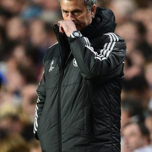 LONDON, ENGLAND - APRIL 30: Jose Mourinho, manager of Chelsea looks dejected during the UEFA Champions League semi-final second leg match between Chelsea and Club Atletico de Madrid at Stamford Bridge on April 30, 2014 in London, England. (Photo by Jamie McDonald/Getty Images)